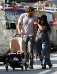Lisa Bonet, husband Jason Momoa, and baby Lola Momoa shop for cl