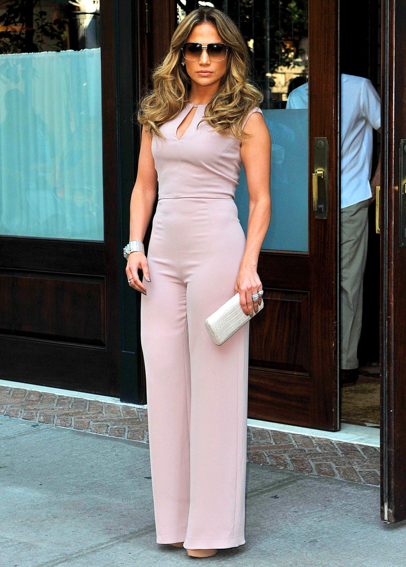 Cele|bitchy | Jennifer Lopez in a pale rose jumpsuit/onesie in NYC ...
