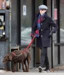 Anne Hathaway Walking Her Dog In New York