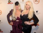 Courtney Stodden poses with Mamie Van Doren at the Eagle & Badge Gala for the Police Protective League in downtown Los Angeles