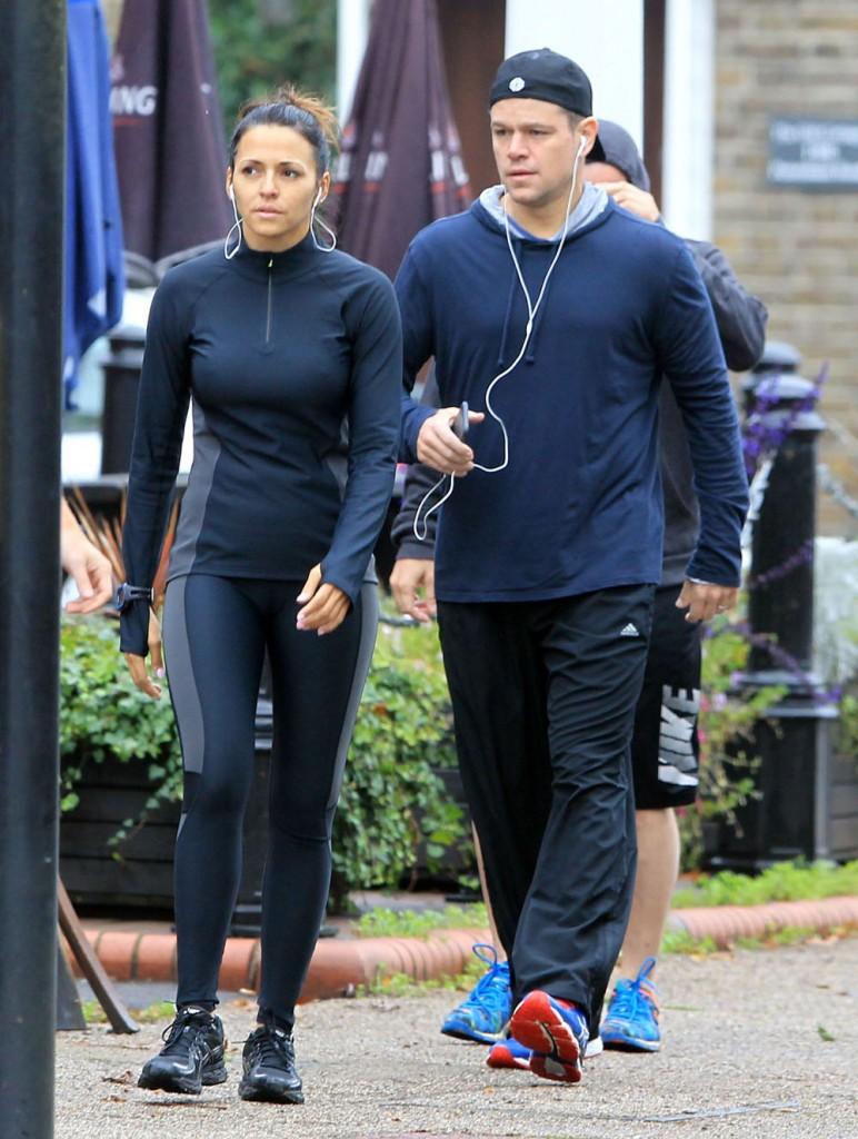 Exclusive... Matt Damon & Luciana Barroso Go For A Run In London