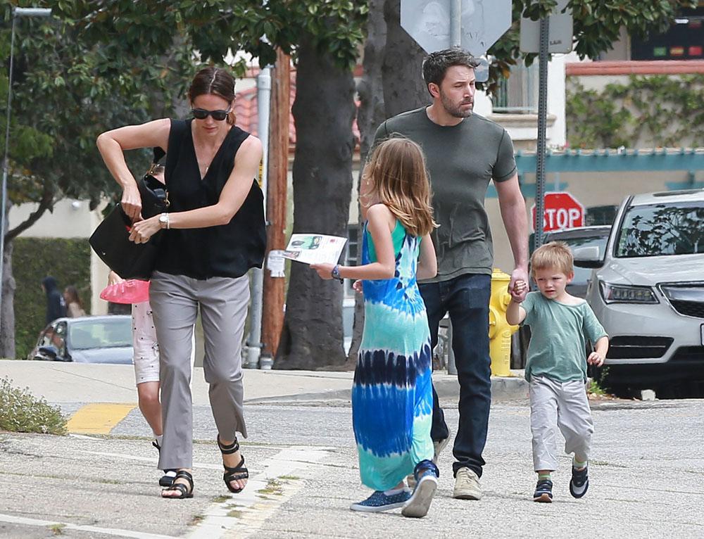 Jennifer Garner & Ben Affleck Leaving Church With Their Children