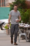 Joel McHale going out for coffee in New York