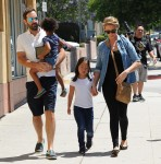 A pregnant Katherine Heigl goes out to lunch with her husband Josh Kelley and their two daughters Adalaide and Naleigh