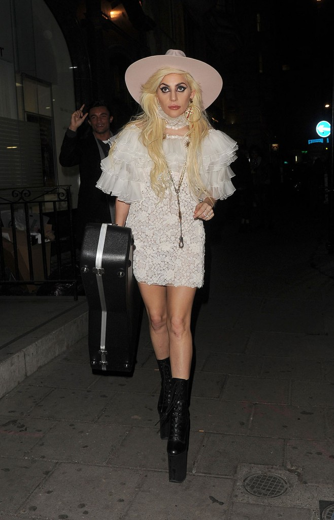 Lady Gaga arrives at a London venue to play a secret gig for fans