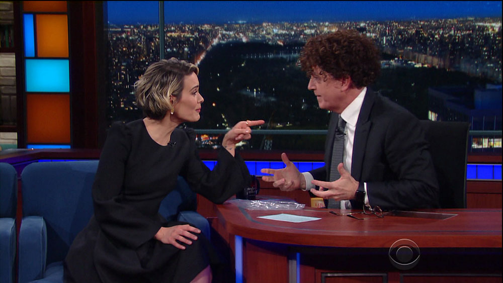 Sarah Paulson during an appearance on CBS's 'The Late Show with Stephen Colbert.'  bitchy | Sarah Paulson saved her Marcia Clarke wig as a great luck allure wenn30743872