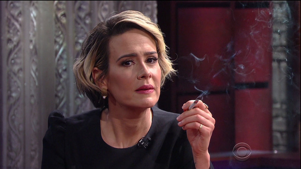 Sarah Paulson during an appearance on CBS's 'The Late Show with Stephen Colbert.'  bitchy | Sarah Paulson saved her Marcia Clarke wig as a great luck allure wenn30743891