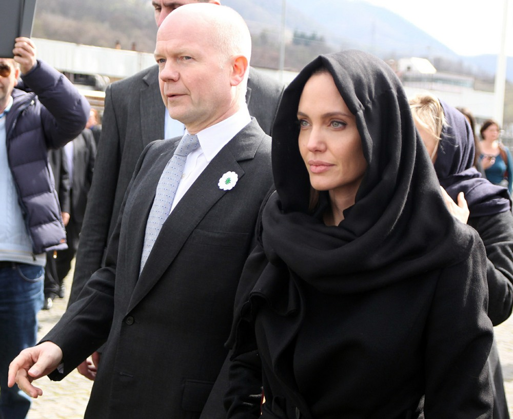 Angelina Jolie and William Hague arrive at the Memorial Center