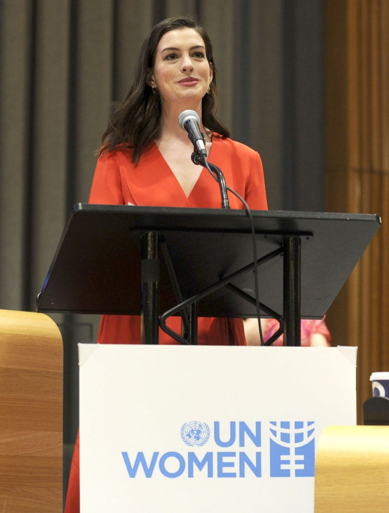 Anne Hathaway speaks at the United Nations Headquarters