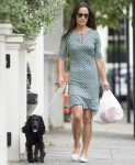 Newly Engaged Pippa Middleton Takes Her Dog For A Walk In Fulham