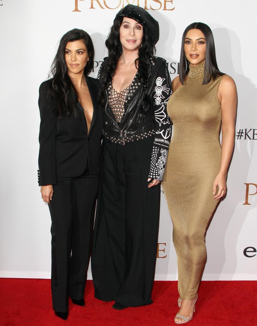 Kim Kardashian, Cher and Kourtney Kardashian at The Promise Premiere in LA