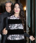 George Clooney and his pregnant wife Amal Clooney leave L'hotel