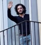 Kit Harington seen on a balcony while filming a commercial for the new Dolce and Gabbana fragrance 'The One'