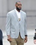 James Corden and NBA star LeBron James filming in downtown Los Angeles