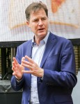 Nick Clegg unveils a poster on scrapping school lunches