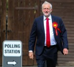 Jeremy Corbyn goes to cast his vote in the 2017 General Election