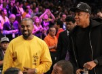 2 of the biggest hip-hop stars, Kanye West and Jay-Z chat it up courtside before Kobe Bryant's last game at the Staples Center in downtown LA