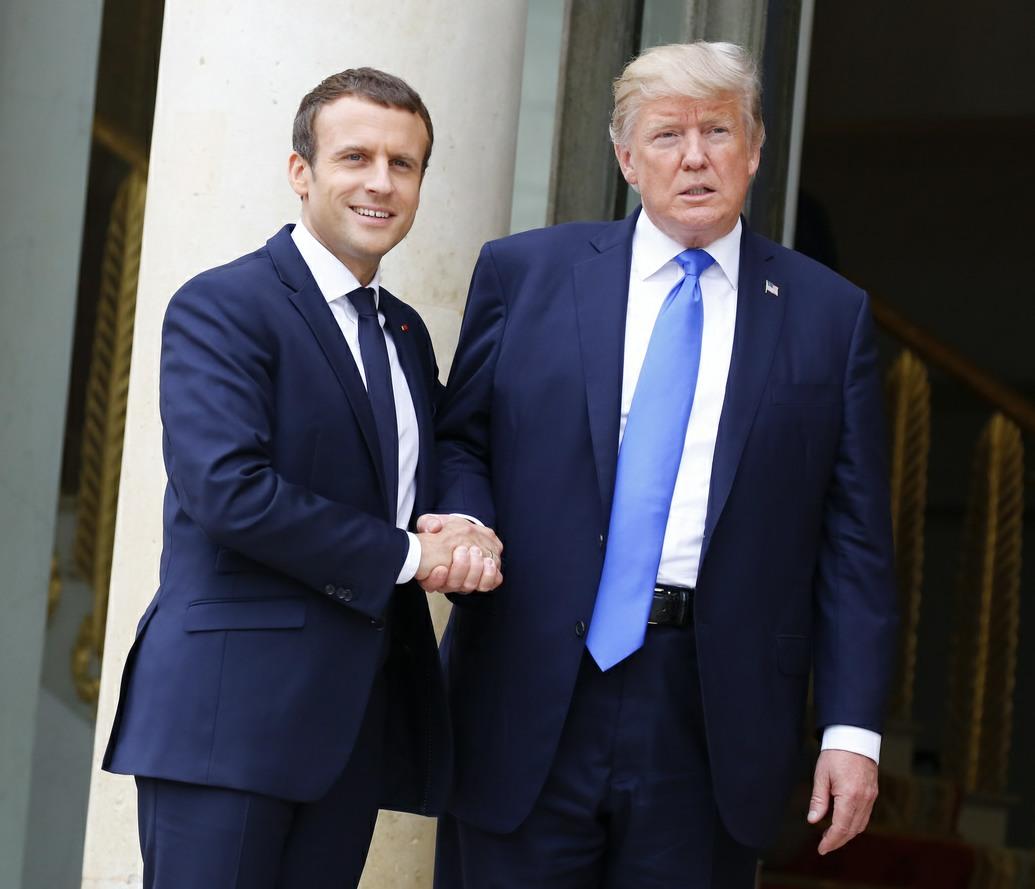 Donald Trump meets Emmanuel Macron in Paris