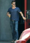 Brad Pitt takes home a iced coffee after lunch