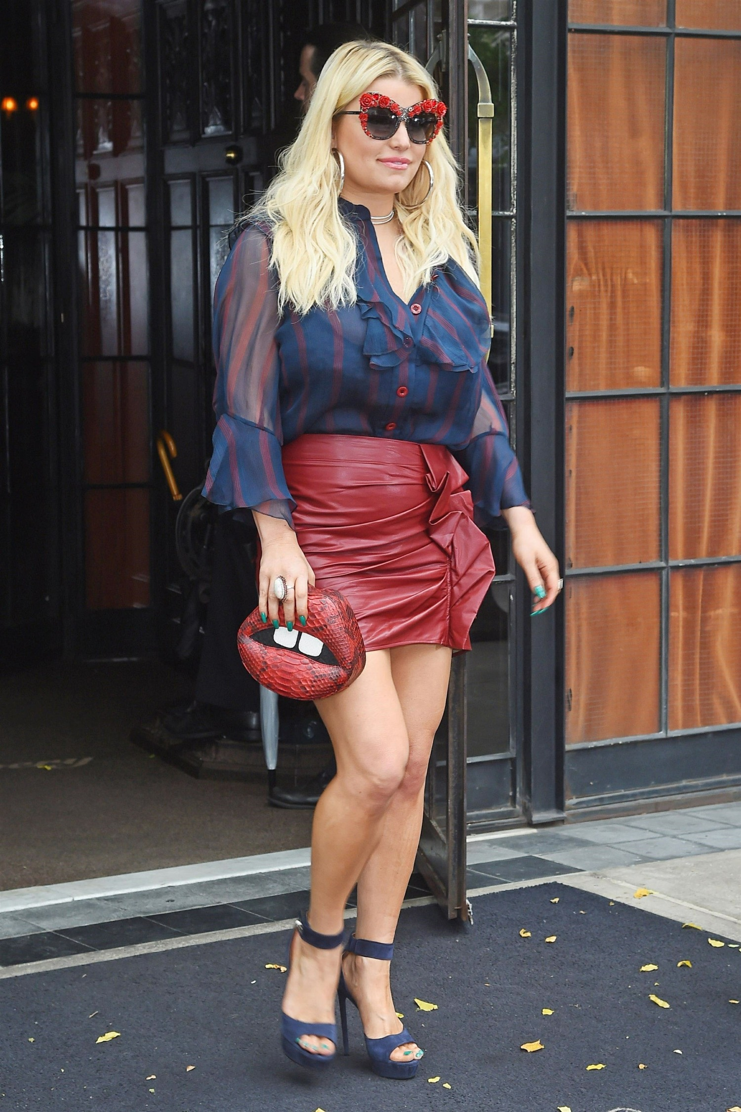 Jessica Simpson shows off her style as she leaves the Bowery Hotel