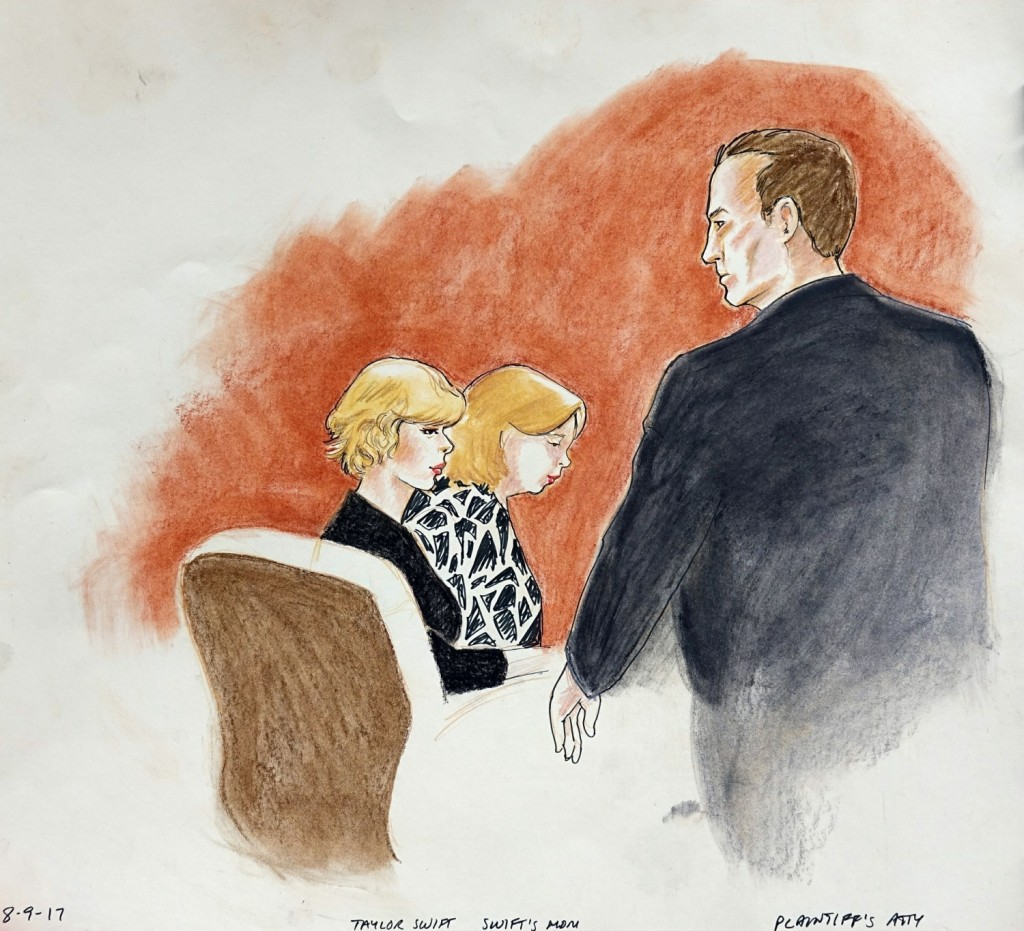 Taylor Swift, her mom and 'radio guy' David Mueller in latest court sketches