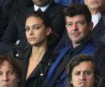 Robin Thicke and April Love Geary attend a soccer match in Paris