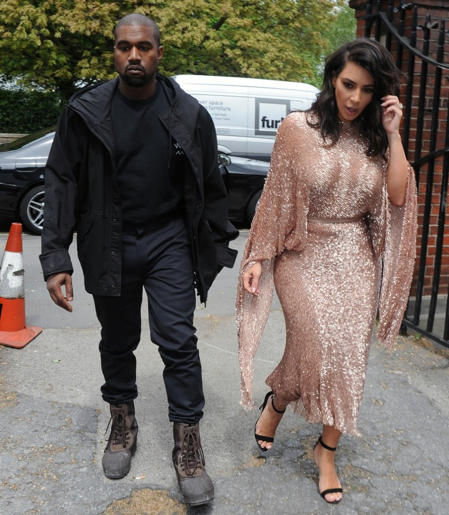 Kim Kardashian and Kanye West leave their hotel and head to The Vogue 100 Festival