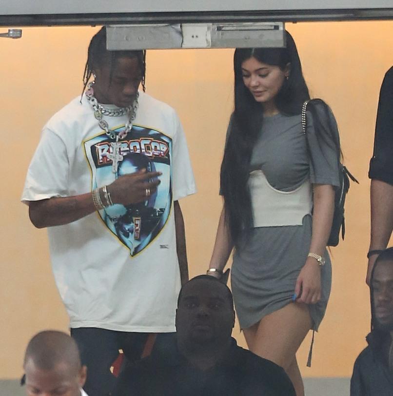 Kylie Jenner leaving her hotel in Miami Beach with boyfriend Travis Scott