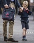 Prince George arrives with his father Prince William, Duke of Cambridge, for his first day of school at Thomas's school in Battersea