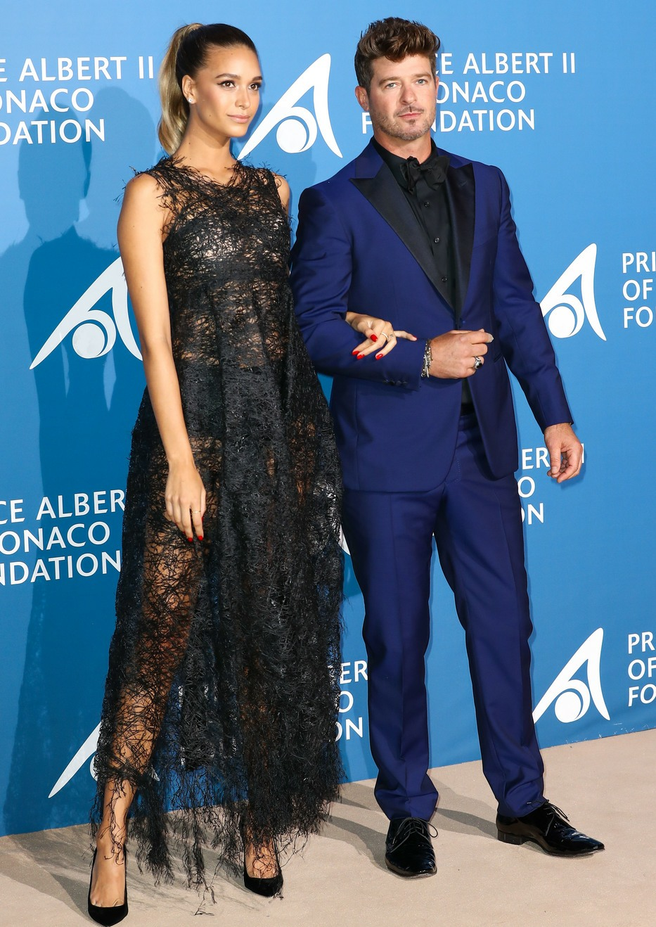 Robin Thicke and April Love Geary attend the Inaugural 'Monte-Carlo Gala For The Global Ocean' Honoring Leonardo DiCaprio at The Monaco Garnier Opera on September 28, 2017 in Monaco, Monaco.USA, OZ, NZ, SOUTH AFRICA, JAPAN AND CHINA ONLY Photograph: © CRY