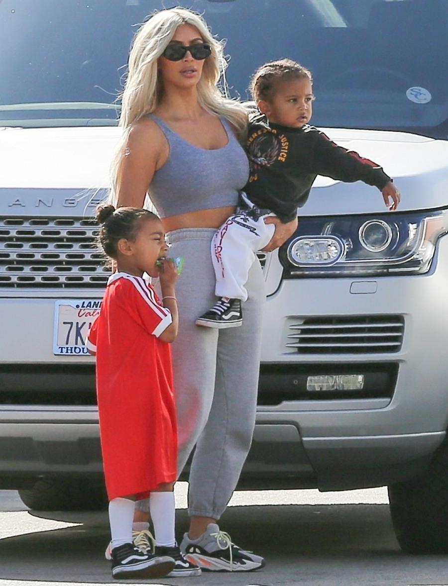 Kim Kardashian takes North and Saint West to Glowzone LA for some fun