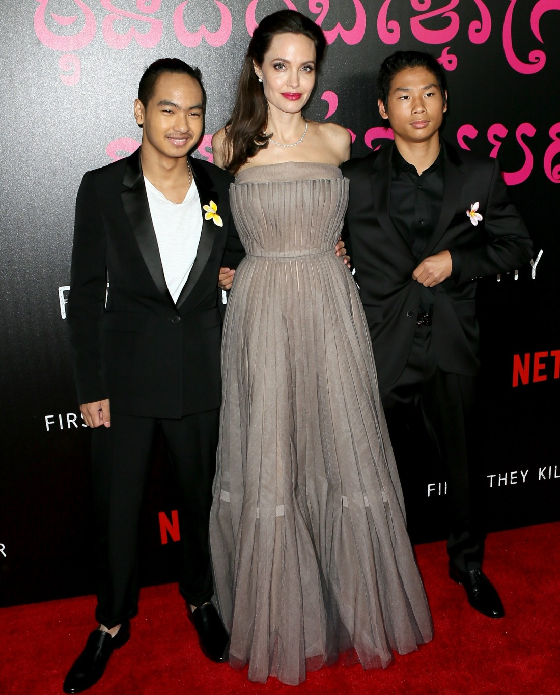 Angelina Jolie and family arrive at the 'First They Killed My Father' NYC screening