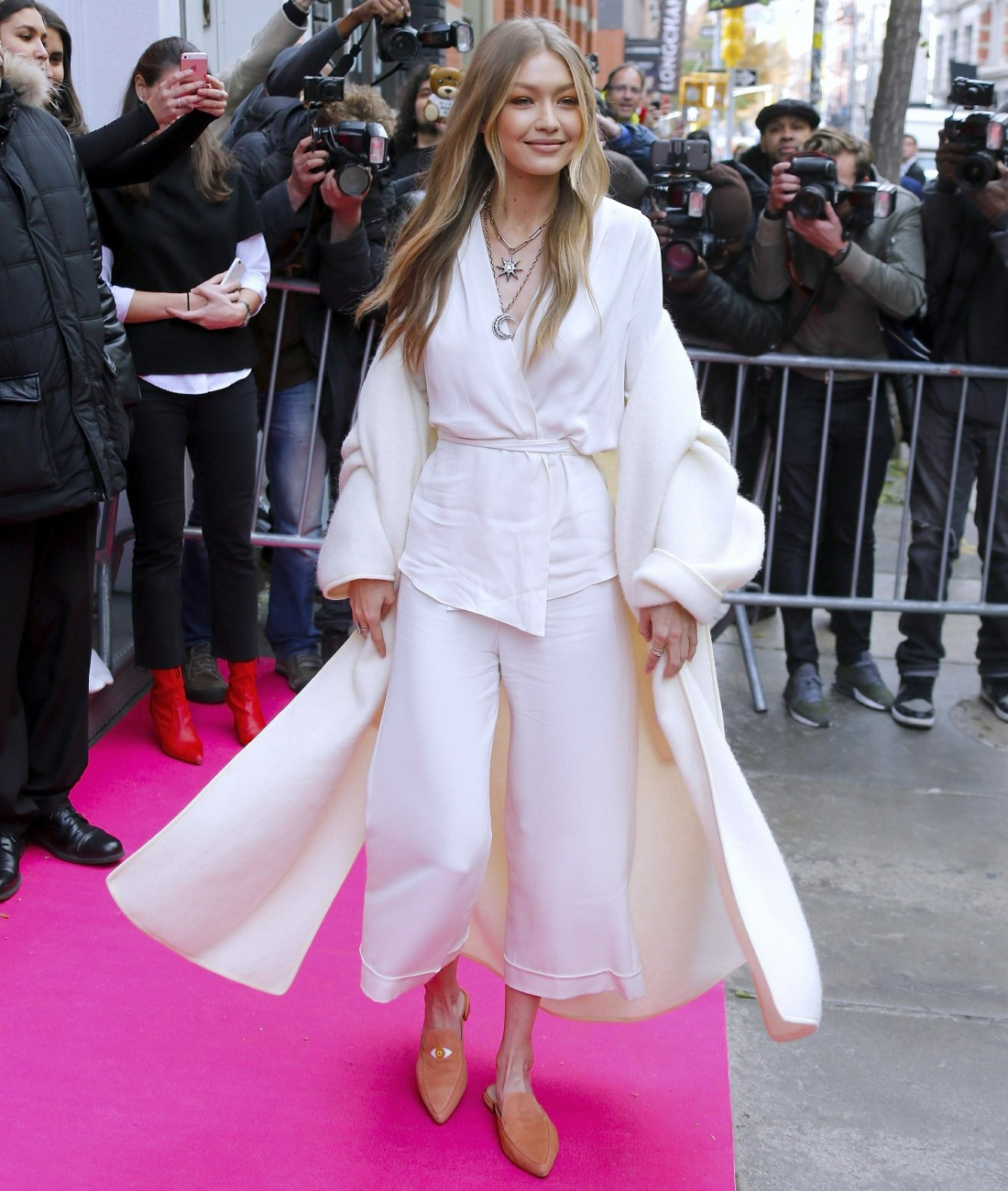 Model Gigi Hadid is seen arriving at Stuart Weitzman