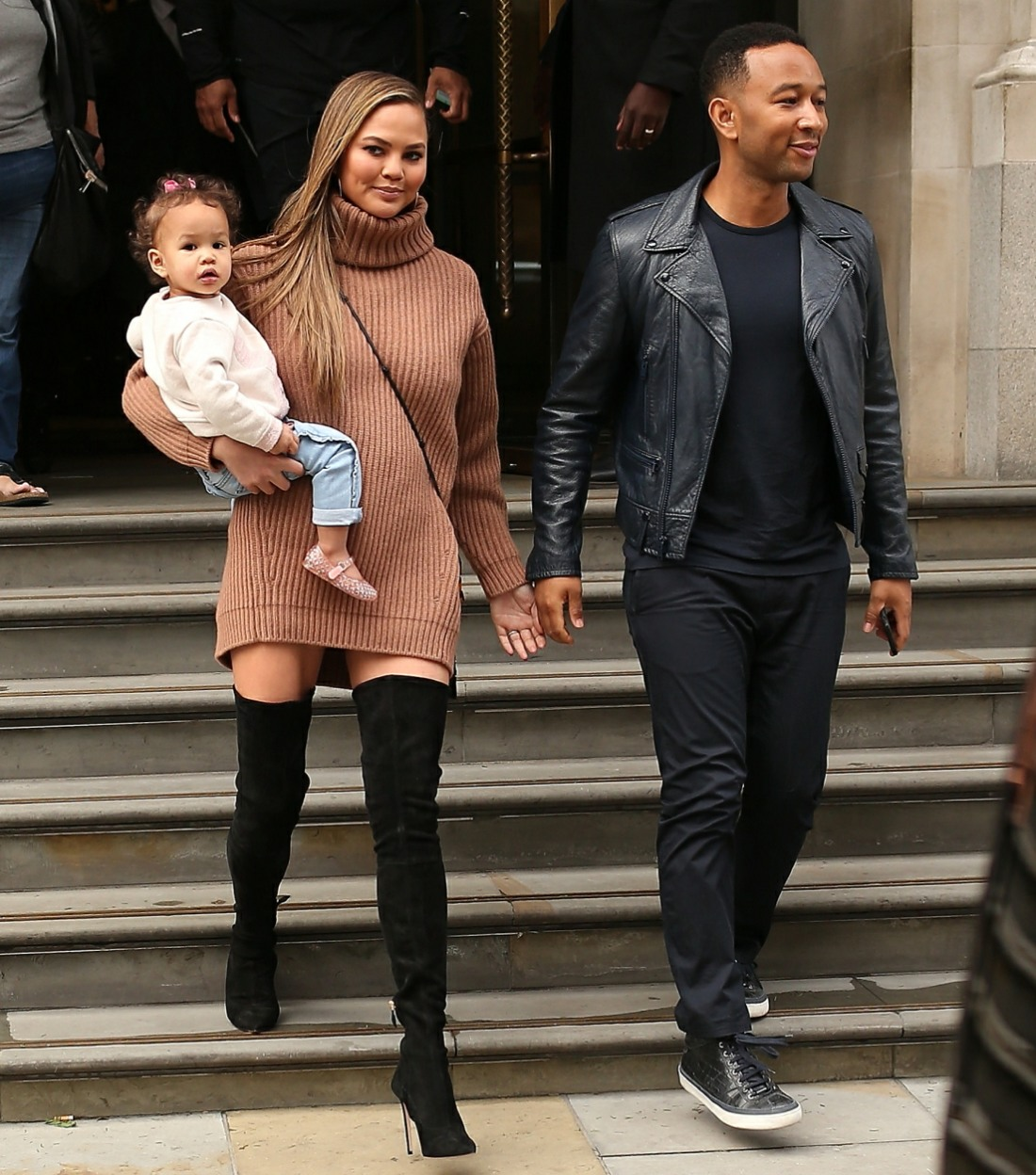 John Legend and Chrissy Teigen leave Corinthia Hotel with their daughter and head for a late lunch