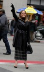Jennifer Lopez and Vanessa Hudgens stroll arm-in-arm through Manhattan as they film an overnight scene at the Second Act movie set outside the Flatiron Building