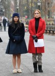 Jennifer Lopez and Vanessa Hudgens on the set of 'Second Act'
