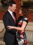Princess Eugenie and Jack Brooksbank in the Picture Gallery at Buckingham Palace in London after they announced their engagement
