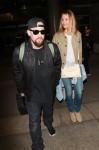 Benji Madden and Cameron Diaz at Los Angeles International Airport (LAX)