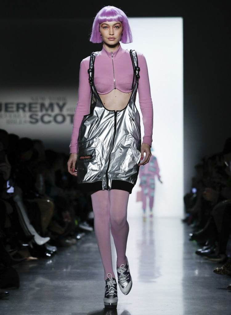 Gigi Hadid walks the runway for fashion designer Jeremy Scott