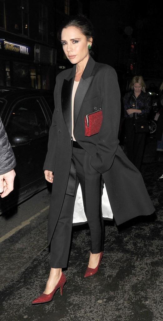 Victoria Beckham seen leaving her designer boutique on Dover Street in Mayfair