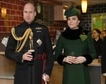 Prince William, Duke of Cambridge, Colonel of the Irish Guards, and Catherine, Duchess of Cambridge, visit the 1st Battalion Irish Guards at the St. Patrick's Day Parade at Cavalry Barracks, Hounslow, West London to present shamrocks to the officers and gu
