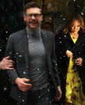 Ryan Seacrest and Carrie Ann Inaba film 'Live With Kelly & Ryan' in the snow