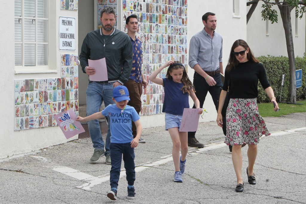 Jennifer Garner wears sensible outfit and Ben Affleck dresses down as they accompany their kids to Sunday service in Los Angeles