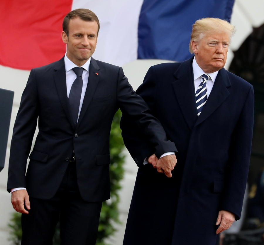 President Donald J. Trump welcomes President Emmanuel Macron