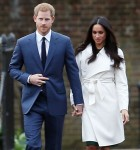 Prince Harry and fiancee Meghan Markle arriving at Kensington Palace to announce their engagement