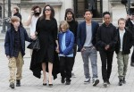 Angelina Jolie and the kids visit the Louvre Museum
