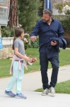 Ben Affleck leaves church with his daughter Seraphina after attending Sunday service