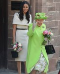 Duchess of Sussex and Queen Elizabeth seen leaving Chester City Council in Chester