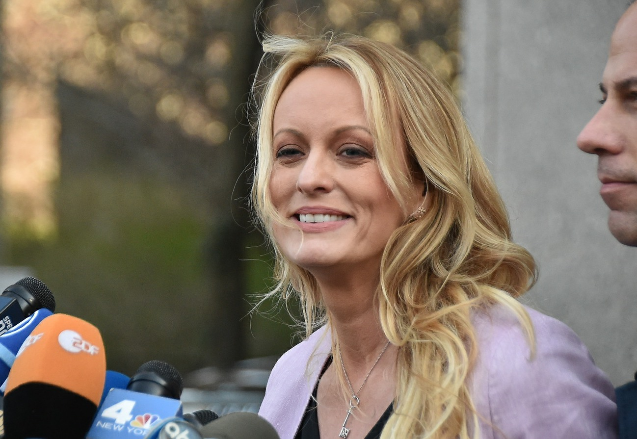 Porn actress Stormy Daniels leaves Federal Court with her lawyer Michael Avenatti for Michael Cohen's court hearing in Manhattan