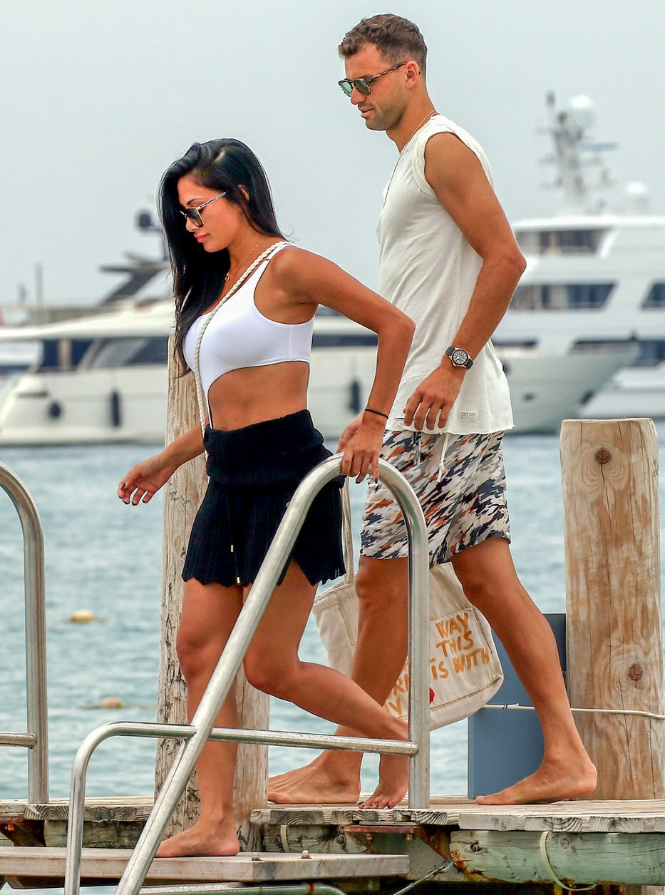 Nicole Scherzinger and boyfriend Grigor Dimitrov hold hands as they leave Club 55 in Saint Tropez and board a water taxi together